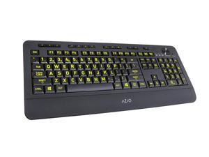 Azio Vision Backlit USB Keyboard with Large Print keys and 5 Interchangeable Backlight Colors - Wired