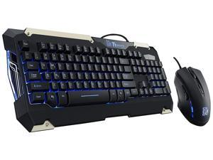 Keyboard and mouse combo, Tt Esports Commander Blue LED Backlighting Mechanical Keycaps Membrane Gaming Keyboard & 2400 DPI Blue LED Optical Gaming Mouse Combo - Blue LED