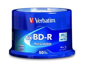 High Performance Verbatim BD-R 25GB 6X Blu-ray Recordable Media Disc - 50 Pack Spindle, 50 high-grade non-rewritable BD-R discs, one hundred year archival life and OEM drive certified