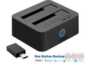 """Dual slot Hard Drive docking station, USB 3.0 to SATA Dual-Bay HDD Docking Station 2.5"""" or 3.5"""" HDD / SSD with Offline Duplicate / Clone and UASP function, suit for both USB-A & USB-C host computer"""