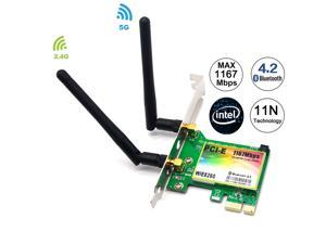 AC1200 PCIe WiFi Card Adapter, 1200Mbps Dual band Wireless Network Card, Bluetooth 4.2, IEEE 802.11ac,Low Profile, Long Range, 2.4G/5G Dual Band Wireless PCI Express Adapter, 2 x 6dBi Antenna