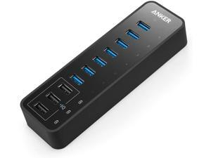 USB HUB, 10 Port 60W Data Hub with 7 USB 3.0 Ports and 3 PowerIQ Charging Ports for MacBook, Mac Pro/Mini, iMac, XPS, Surface Pro, iPhone 7, 6s Plus, iPad Air 2, Galaxy Series, Mobile HDD, and More