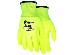 MCR Safety N9690HVL Ninja Ice Hi-Vis 15 Gauge Lime Nylon Gloves, Large, 12-Pack