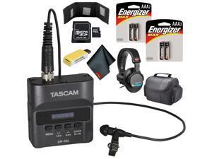 Tascam DR-10L Digital Audio Recorder with Lavalier Mic (Black) Pro Bundle