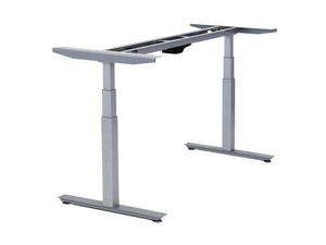 RISE UP dual motor electric adjustable height width standing desk frame with memory premium quality sit stand up ergonomic home commercial office desk base legs base table no desktop computer gray