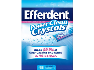 Efferdent Anti-Bacterial Denture Cleanser Power Clean Crystals | Icy Mint | 48-Packets | 1-Pack