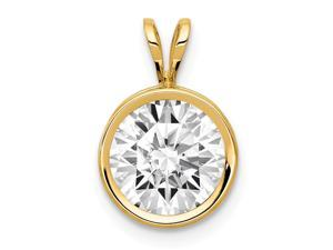 14k Yellow Gold Polished Open back 8mm CZ Cubic Zirconia Simulated Diamond Bezel Pendant Necklace Measures 14x9mm Jewelr