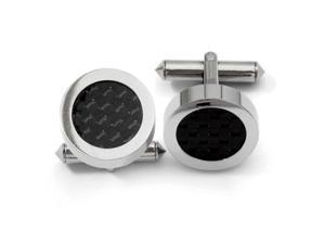 Titanium Polished Black Carbon Fiber Cuff Links Jewelry Gifts for Men