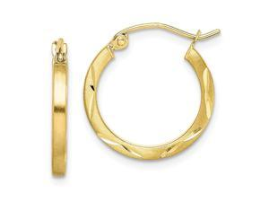 10k Yellow Gold Hinged post Satin Sparkle Cut 2x20mm Hoop Earrings Measures 19x18mm Wide 2mm Thick Jewelry Gifts for Wom
