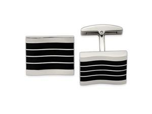 Stainless Steel Polished Black Cats Eye Rectangle Cuff Links Jewelry Gifts for Men