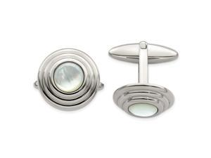 Stainless Steel Simulated Mother of Pearl Polished Cuff Links Jewelry Gifts for Men