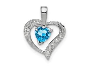 925 Sterling Silver Polished Prong set Open back Love Heart Swiss Blue Topaz and Diamond Heart Pendant Necklace Jewelry