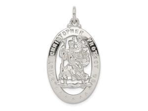 925 Sterling Silver Solid Polished Closed back Not engraveable Saint Christopher Medal Pendant Necklace Jewelry Gifts fo