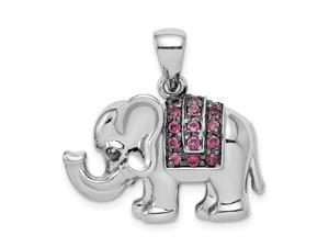 925 Sterling Silver Open back Polished Rhodolite Elephant Pendant Necklace Jewelry Gifts for Women
