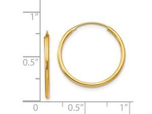 14k Yellow Gold Hollow Polished Endless Hoop Earrings Measures 17x17mm Jewelry Gifts for Women