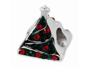 925 Sterling Silver Polished Green Red Crystal Christmas Tree Bead Charm Pendant Necklace Jewelry Gifts for Women