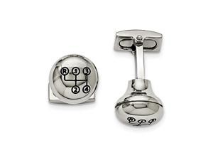 Stainless Steel Polished Stick Shift Design Enameled Cuff Links Jewelry Gifts for Men