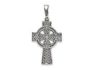 925 Sterling Silver Polished Textured back Irish Claddagh Celtic Trinity Knot Religious Faith Cross Pendant Necklace Jew
