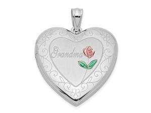 925 Sterling Silver Patterned Engravable Holds 2 photos Polished and satin 24mm Enameled and Sparkle Cut Grandma Love He