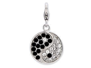 925 Sterling Silver Polished Fancy Lobster Closure Enameled 3 d Ying Yang Sign With Lobster Clasp Charm Pendant Necklace