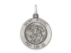 925 Sterling Silver Solid Satin Engravable St. Michael Medal Charm Pendant Necklace Jewelry Gifts for Women