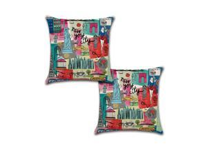 Set of 2 Pillow Covers 18x18, New York City Retro Design Cotton Linen Fabric I Love NY Empire State Building Wall St Decorative Indoor/Outdoor Throw Pillow Case Set 45x45cm