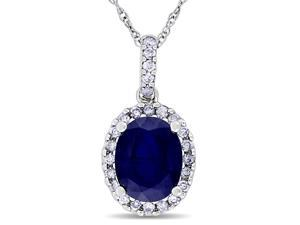 Blue Sapphire and Diamond Pendant Necklace in 14k White Gold with Chain