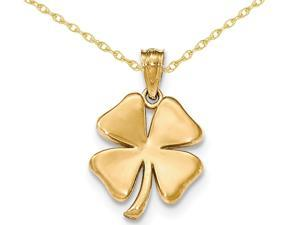 14K Yellow Gold Four Leaf Clover Charm Pendant Necklace with Chain