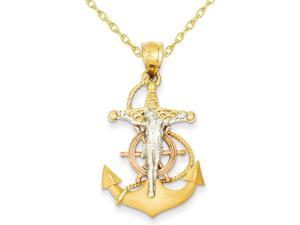 Mariners Cross Pendant Necklace in 14K Yellow, White and Pink Gold