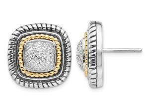 Square Diamond 1/4 Carat (ctw) Earrings in Sterling Silver with 14K Gold Accents