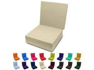Solid Color TriFold Bed White Foam Floor Mats Single Size 27Wx75L Khaki