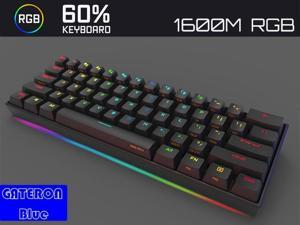 Anne Pro 2 Mechanical Gaming Keyboard TLK 60% True RGB Backlit - Wired/Wireless Bluetooth 4.0 PBT Type-c Up to 8 Hours Extended Battery Life, Linux Mac Full Keys Programmable (Gateron Blue, White)