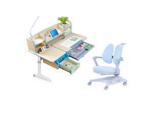 Children Kids Ergonomic Study Desk with Adjustable Double-Winged Swivel Chair Set _ Blue