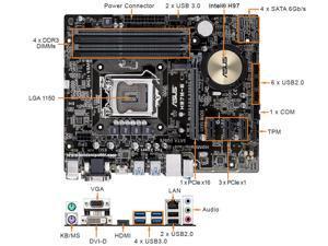 ASUS H97M-E/CSM H97 1150 mATX Motherboard M.2 A