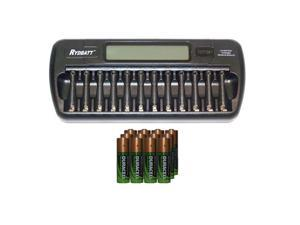 12 Bay AA / AAA LCD Battery Charger + 12 AA 2450 mAh Duracell NiMH Batteries