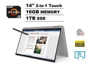 "2020 Lenovo IdeaPad Flex 5 14"" FHD Full HD 1080p IPS 2-in-1 Touch Business Laptop + Active Pen (AMD 6-Core Ryzen 5 4500U, 16GB DDR4 RAM, 1TB PCIe SSD) Backlit, Fingerprint, Webcam, Windows 10 Home"