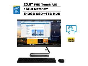 "Lenovo IdeaCentre A340-24ICK 23.8"" FHD 1080p Multi-Touch All-in-One AIO Business Desktop (Intel Six-Core i5-9400T, 16GB DDR4 RAM, 512GB SSD + 1TB HDD) Wi-Fi, Webcam, Windows 10 Home"