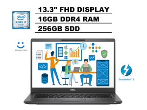 "2020 DELL Latitude 7000 7300 13.3"" FHD (1920x1080) Business Laptop (Intel Quad-Core i7-8665U, 16GB DDR4 RAM, 256GB SSD) Thunderbolt 3, HDMI, Webcam, Backlit, Windows Hello, Windows 10 Pro"