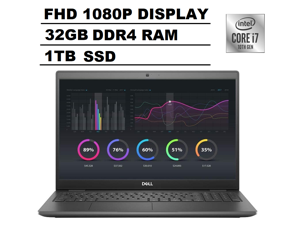 """Dell Latitude 3000 3510 15.6"""" Full HD FHD (1920x1080) Business Laptop (Intel Quad-Core i7-10510U, 32GB RAM, 1TB SSD) Type-C(Support DisplayPort and Power Delivery), HDMI, Webcam, Windows 10 Pro"""