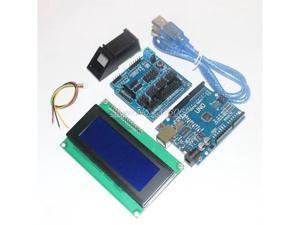 Fingerprint Module for arduino kit Optical fingerprint sensor + UNO R3 + V5.0 shield + LCD 2004 bule screen