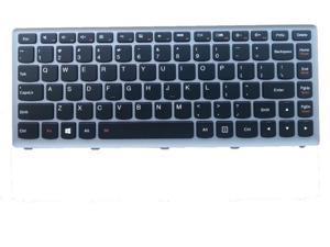 Black with Silver-Gray Frame Backlit Laptop Keyboard for IBM Lenovo IdeaPad 25210667 MP-12J33USJ6861 25206029 MP-12J33USJ686 25210741 MP-12J33USJ6863 Backlight Notebook US UI layout