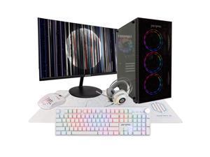 Periphio Gaming PC Tower Desktop Computer, Intel Quad Core i5 3.2GHz, 8GB RAM, 120GB SSD + 1TB 7200 RPM HDD, Windows 10, GTX 1050TI Graphics Card, Periphio 24 Inch Monitor, RGB, HDMI, Wi-Fi (Renewed)