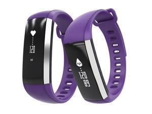 TechComm M2 IP67 Waterproof Fitness Activity Tracker with Heart Rate, Blood Pressure and Blood Oxygen Monitor, Bluetooth, Call and Text Notifications, Pedometer and Sedentary Reminder - Purple