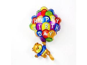 1Pc Happy birthday day print bear shape aluminum film balloon valentine atmosphere decoration inflatable toys