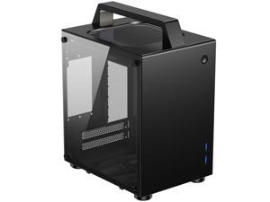 JONSBO T8 Handle Mini-ITX Computer Case Aluminum Tempered Glass Desktop Chassis with Handle for ITX 170mm170mm Motherboards