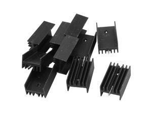 10 x 25x15x10mm black aluminum radiator cooler for TO-220 transistor