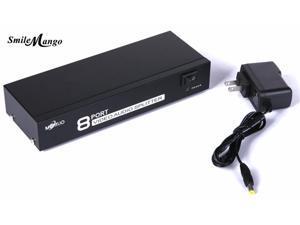 1Pcs SmileMango Original MT 108AV 8 port Composite RCA AV splitter 1X8 video audio splitter with power adapter