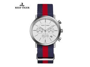 Reef Tiger Military Watches for Men Nylon Strap Chronograph Quartz Sport Watch with Date RGA162