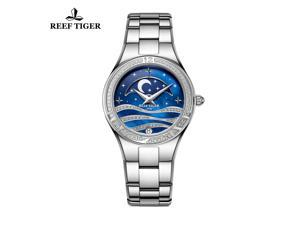 Reef Tiger Casual Womens Watch Moon Phase Stainless Steel Quartz Analog Watches RGA1524