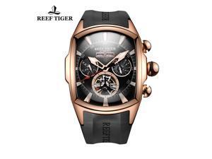 Reef Tiger Sport Watch Rubber Strap Tourbillon Black Case Automatic Mens Watches RGA3069
